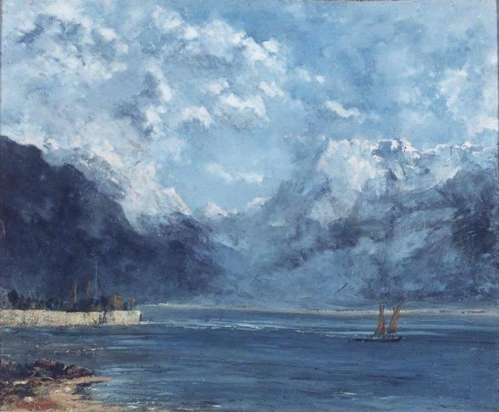 """Courbet gustave """" La Vue du lac Léman """""""
