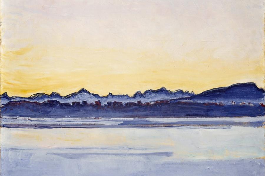 Genfer see mit mont blanc am fruehen morgen maerz 30x25cm 34858116