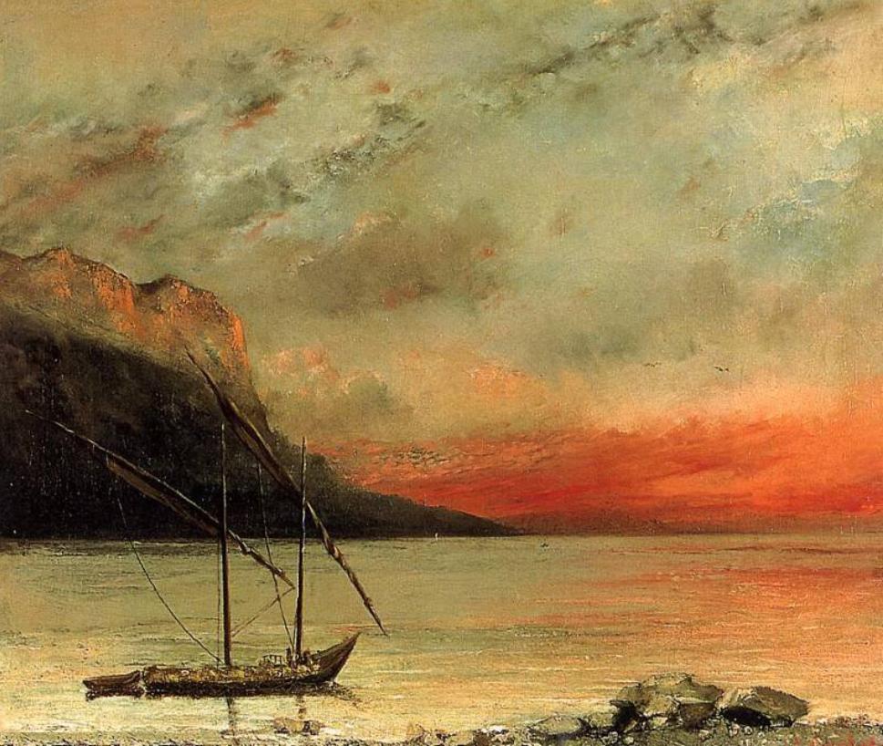 Gustave courbet coucher de soleil sur le lac leman realisme