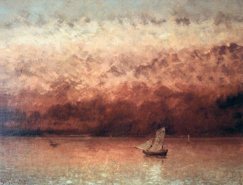 Gustave courbet sunset on lake geneva